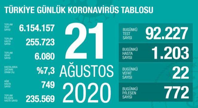 Türkiye'de 22 kişi koronavirüs nedeniyle hayatını kaybetti