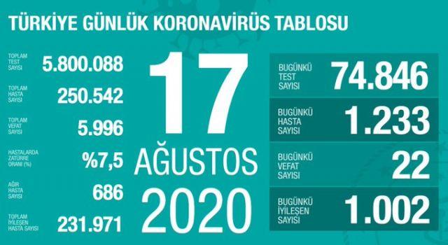 Türkiye'de can kaybı 5 bin 996 oldu