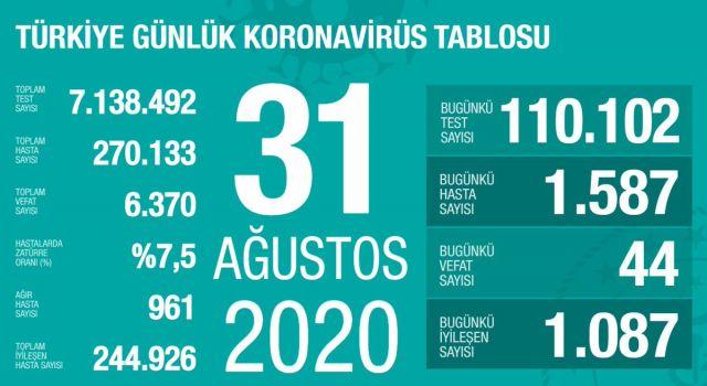 Türkiye'de koronavirüsten dolayı 44 kişi daha hayatını kaybetti